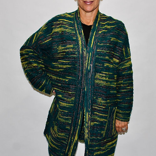 knee length texture knit cardigan