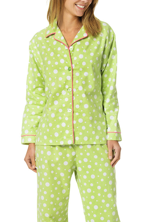 Lime Dot Women's Flannel Pajama Set
