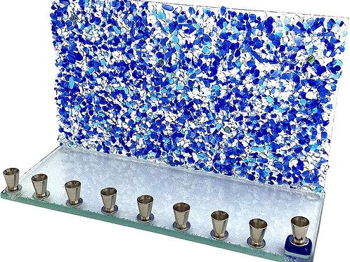 Blue Crystal Wall Glass Menorah