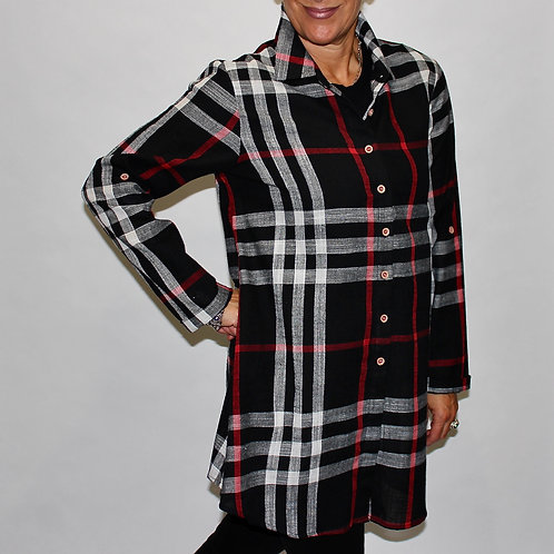 black plaid zip back blouse