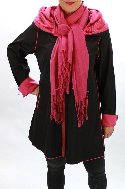 Reversible Pleated Hood Zip Jacket