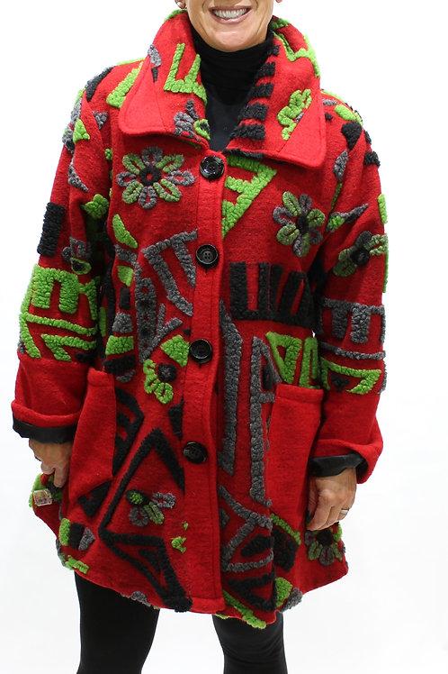 'Graffiti' Wool Coat - Red