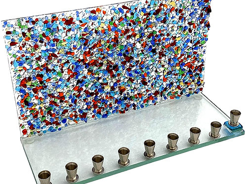 Multi Crystal Wall Glass Menorah