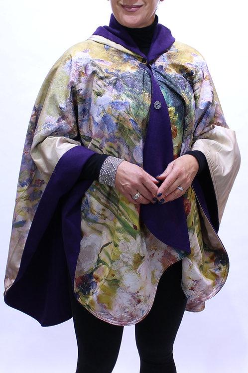 Tiffany Peonies Flannel Lined Rain Poncho