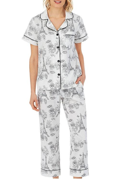 B&W Eiffel Women's Sateen Capri Pajama Set