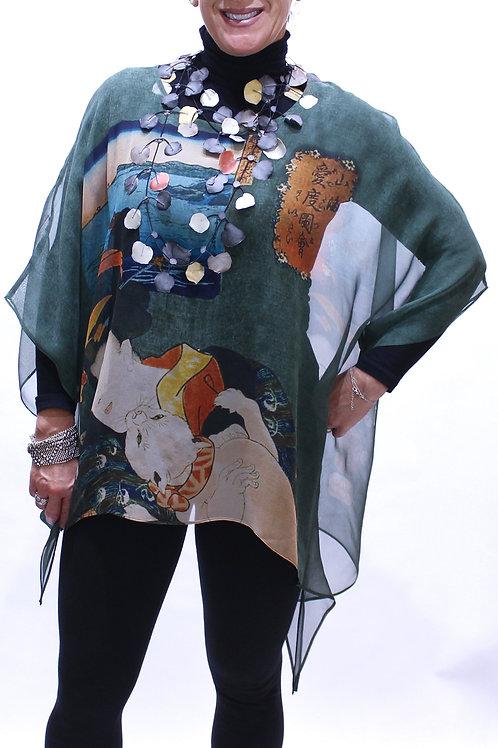 Purrrfect print silk poncho