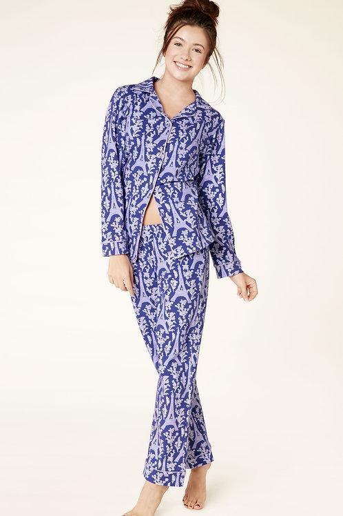 Eiffel Tower Indigo Women's Stretch Pajama Set