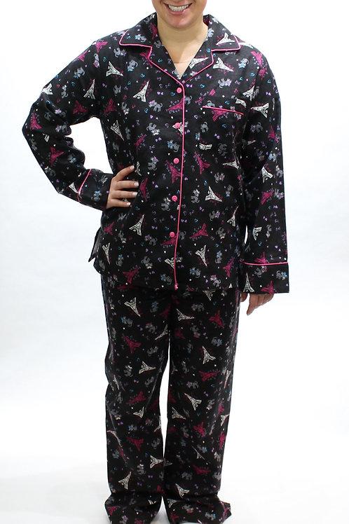 Black Eiffel Women's Flannel Lounger