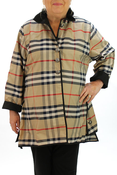Reversible Plaid Jacket - Taupe/Navy