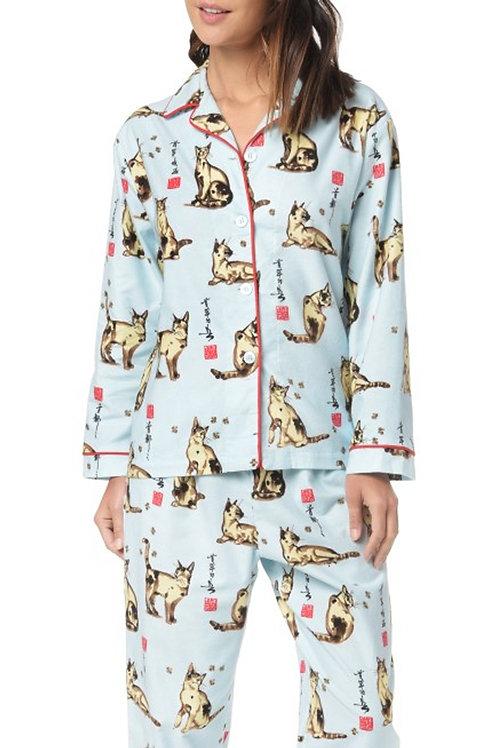 Blue Haiku Kitty Women's Flannel Lounger