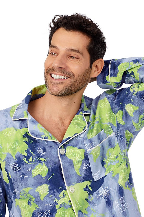 Earth Map Men's Stretch Pajama Set