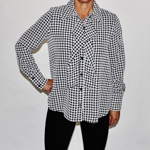 Ruffle Houndstooth Blouse
