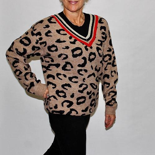 gold trim v neck leopard sweater