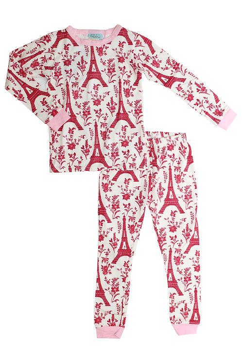 Kids' Red Eiffel Stretch Pajama Set