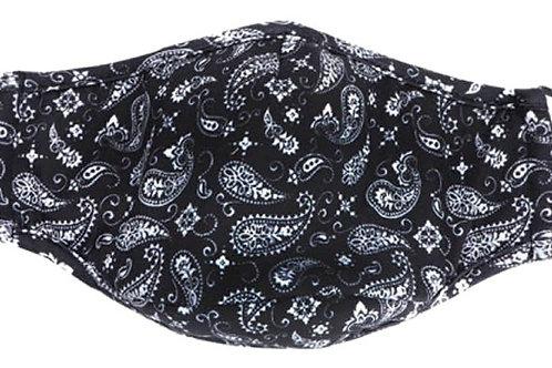 Face Mask Black Bandana Print