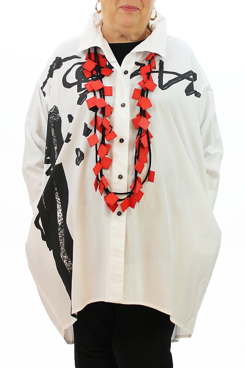 Long White Abstract Blouse
