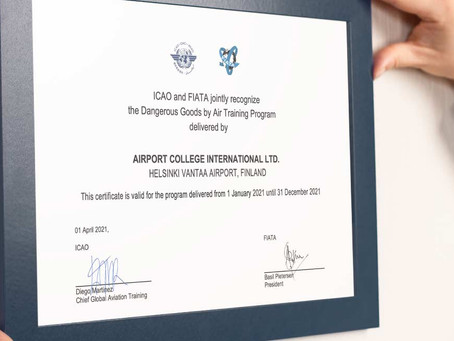 Accredited Training Centre for ICAO/FIATA continues 2021-2022
