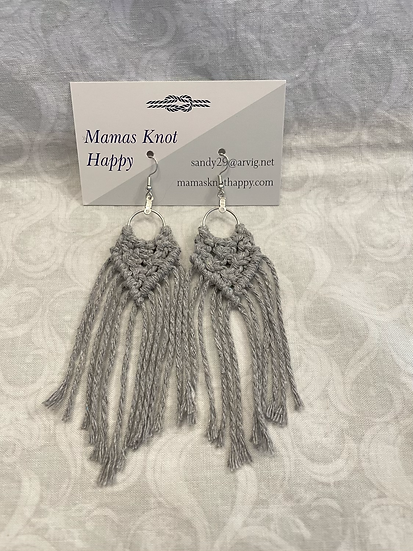 Grey drop macrame earrings