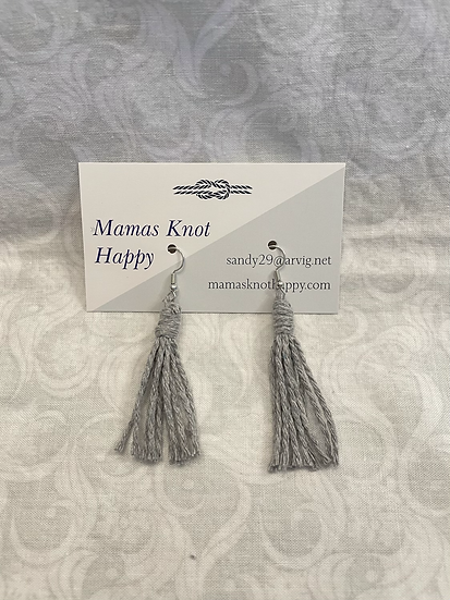 Drop earrings with grey cord