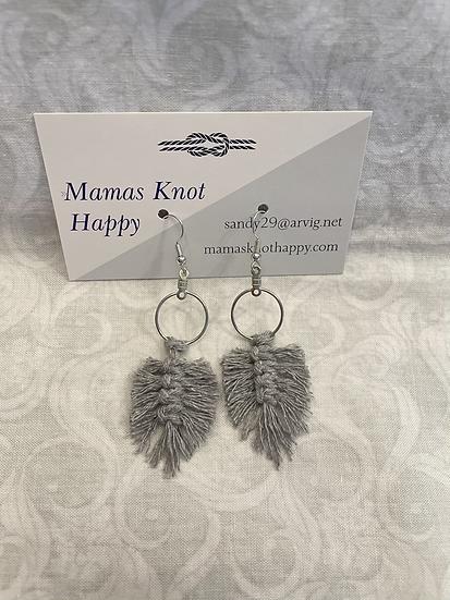 Grey feather macrame earrings
