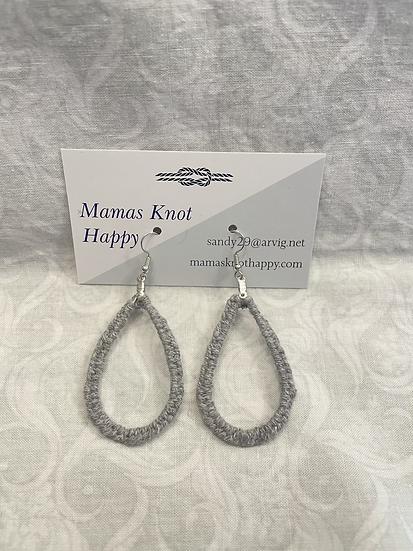 Grey wrapped teardrop earrings