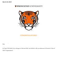 Princeton Acceptance Letter Sample