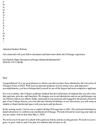 UChicago Acceptance Letter