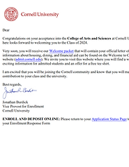 Cornell Acceptance Letter Example