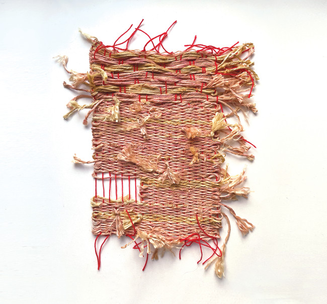 Deconstructed Rope on Red Warp, 2021