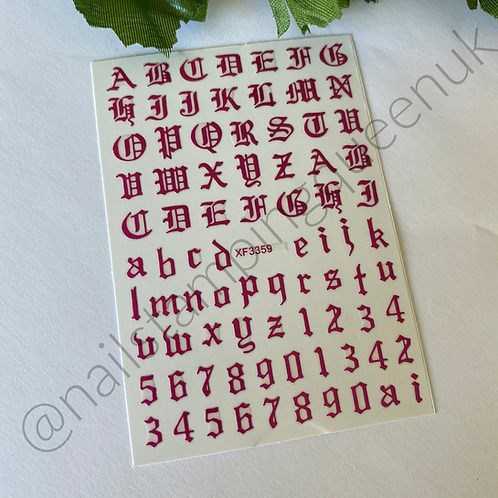 Old English Font Stickers Metallic - 3 Colours