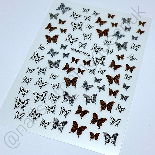 Animal Print Butterfly Stickers
