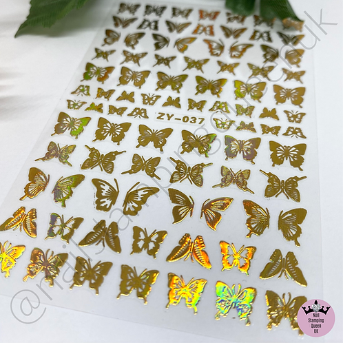 Holo Gold Butterfly Stickers