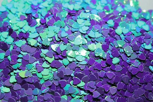Heart Glitter Mix - Iridescent Purple