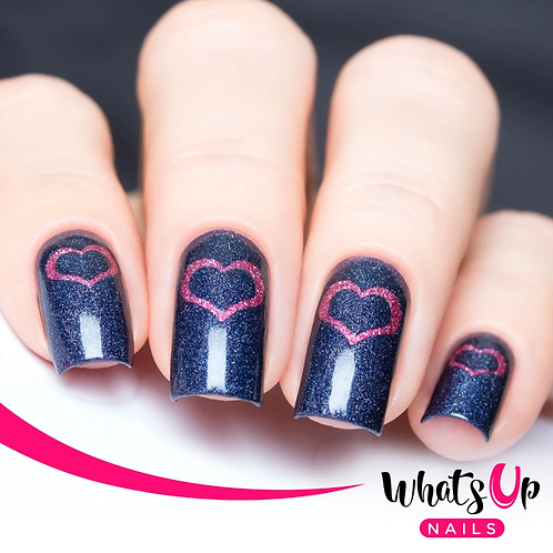 Whats Up Nails - Open Heart Stencils - 2 Pack