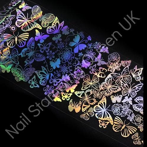 Rainbow Butterfly Silver Holo Transfer Foil