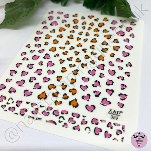 Animal Print Heart Accent Stickers