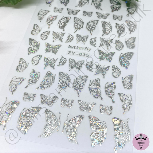 Holo Silver Butterly Stickers