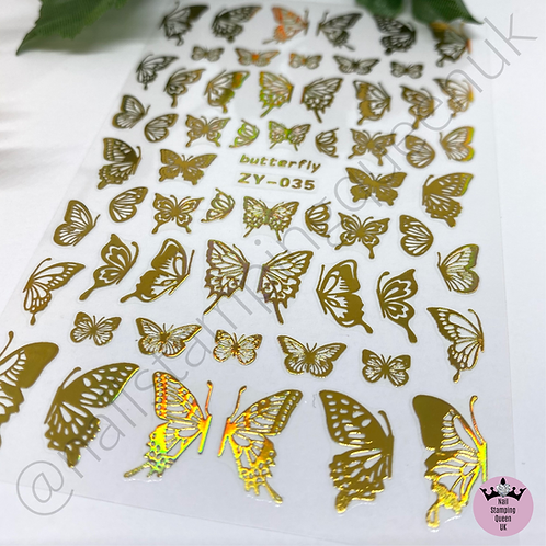 Holo Gold Butterly Stickers