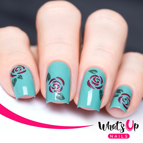 Whats Up Nails - Roses Stencil