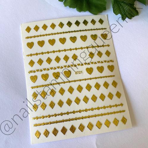 Gold Hearts & Diamonds Stickers