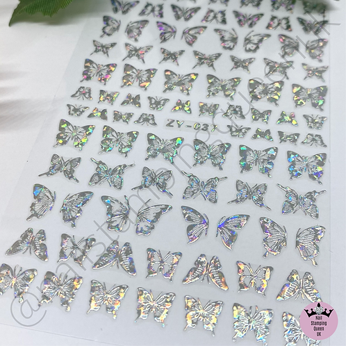 Holo Silver Butterfly Stickers