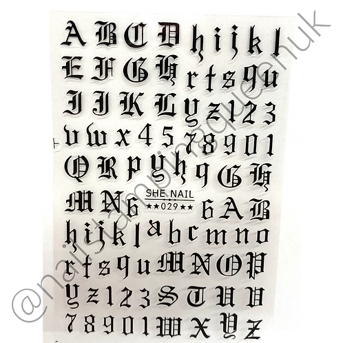 Old English Font Stickers - 3 Colours