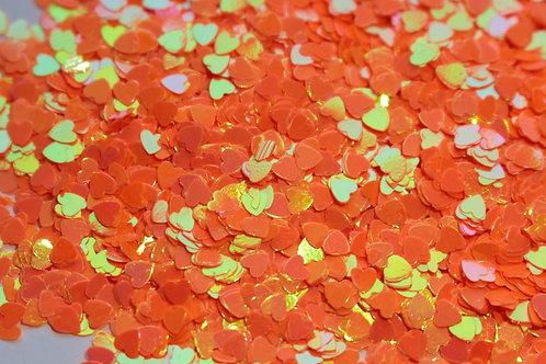 Heart Glitter Mix - Iridescent Orange