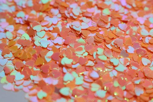 Heart Glitter Mix - Iridescent Peach