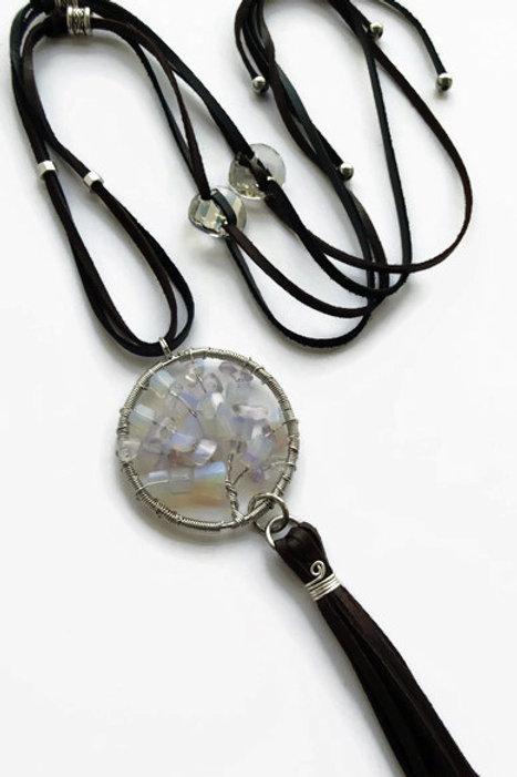 Opalite Tree Necklace - Swarovski Crystals - Adjustable