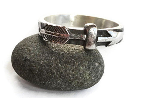 Rustic Arrow Band - Solid Sterling