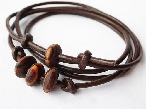 Leather & Olive wood knotted necklace