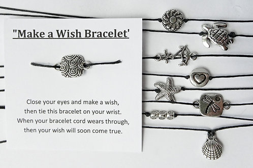 SET of 10 - Wish Bracelets - starfish, turtle, dragonfly, anchor, sun, Heart
