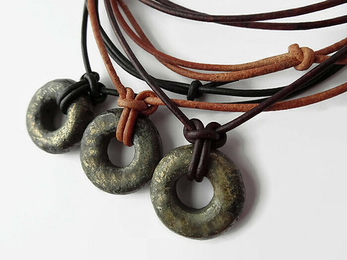 Stone Circle Necklace - Adjustable Leather
