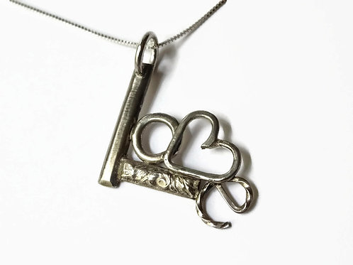 "LOVE pendant - Solid Sterling- 18"" chain"